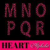 Alphabet of pink hearts vector illustration Royalty Free Stock Photography