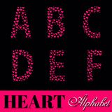 Alphabet of pink hearts vector illustration Stock Image