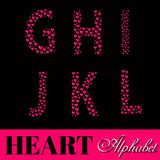 Alphabet of pink hearts vector illustration Stock Images