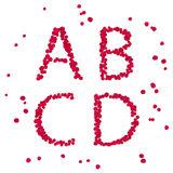 Alphabet from pink petals of rose Royalty Free Stock Images