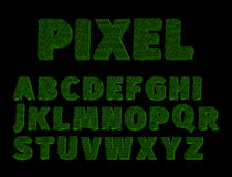 Alphabet pixel. The template alphabet is a pixel green on a black background royalty free illustration