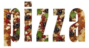 Alphabet, Pizzaguß, Logo, käsig, Karikatur, Typografie, Entwurf, Pizzeria, hawaiische, Kursiv-, heiße Pizza, Schnellimbiß, Fahne lizenzfreies stockfoto