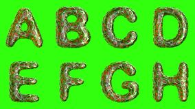 Alphabet from plastic with abstract holes isolated on a green background. A B C D E F G H . 4K vector illustration