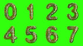 Alphabet from plastic with abstract holes isolated on a green background. The numeral 0 1 2 3 4 5 6 7 . 4K stock video