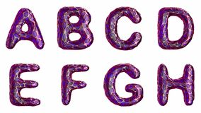 Alphabet from plastic with abstract holes isolated on a white background. A B C D E F G H . 4K