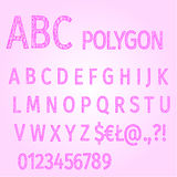 Alphabet of polygons purple mosaic vector Royalty Free Stock Photo