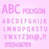 Alphabet of polygons purple mosaic vector Royalty Free Stock Photo