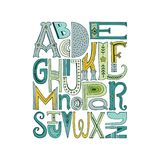 Alphabet Poster. Unique vector alphabet drawn by hand. Vector letters isolated and easy to use. Latin ABC. Unique poster design or educational centre, notebook royalty free illustration