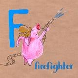Alphabet pour des enfants avec la profession de porc Lettre f sapeur-pompier illustration stock