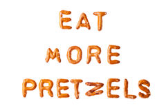 Alphabet pretzel words EAT MORE PRETZELS isolated Stock Image