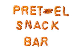 Alphabet pretzel words PRETZEL SNACK BAR isolated Royalty Free Stock Image
