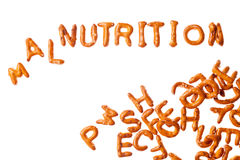 Alphabet pretzels and word MALNUTRITION isolated. Word NUTRITION written, laid-out, with crispy alphabet pretzels and a group of them isolated on white Royalty Free Stock Photo