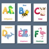 Alphabet printable flashcards vector collection with letter A B C D E F. Zoo animals for english language education. Alphabet printable flashcards vector with royalty free illustration