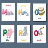 Alphabet printable flashcards vector collection with letter M N O P Q R. Zoo animals for english language education. Alphabet printable flashcards vector with Stock Illustration
