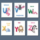 Alphabet printable flashcards vector collection with letter U V W X Y Z. Zoo animals for english language education. Alphabet printable flashcards vector with stock illustration