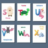 Alphabet printable flashcards vector collection with letter S T U V W X. Zoo animals for english language education. Alphabet printable flashcards vector with stock illustration