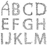 Alphabet of printed circuit boards. Easy to edit.Abstract circuit board background texture. Vector. Lowercase A-M Stock Photo