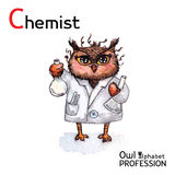 Alphabet professions Owl Letter C - Chemist character on a Stock Images