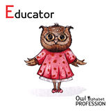 Alphabet professions Owl Letter E - Educator character on a Royalty Free Stock Images