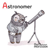 Alphabet professions Owl Letter A - Astronomer Royalty Free Stock Photography