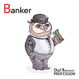 Alphabet professions Owl Letter B - Banker Vector Royalty Free Stock Image
