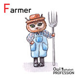Alphabet professions Owl Letter F - Farmer Royalty Free Stock Photo