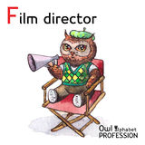 Alphabet professions Owl Letter F - Film Director Royalty Free Stock Photo