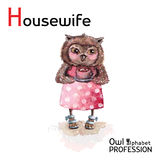 Alphabet professions Owl Letter H - Housewife Royalty Free Stock Image