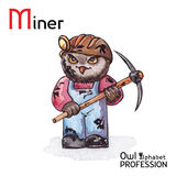 Alphabet professions Owl Letter M - Miner Royalty Free Stock Photo