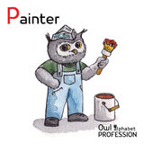 Alphabet professions Owl Letter P - Painter Royalty Free Stock Image