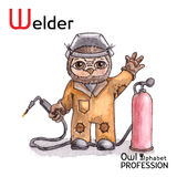Alphabet professions Owl Letter W - Welder Vector Royalty Free Stock Photo