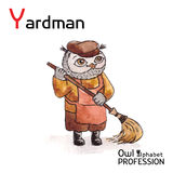 Alphabet professions Owl Letter Y - Yardman Vector Stock Photos