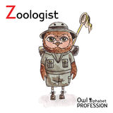Alphabet professions Owl Letter Z - Zoologist. Vector Watercolor royalty free illustration