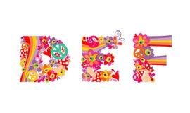 Alphabet puéril hippie avec les fleurs, l'arc-en-ciel et les champignons abstraits colorés def Image libre de droits