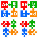 Alphabet puzzles. Simple illustration of alphabet puzzles on white background stock illustration