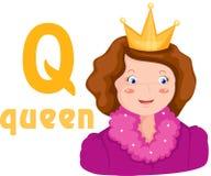 Alphabet Q avec la reine illustration stock