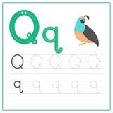 Alphabet Q de carte d'écriture Photographie stock