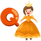 Alphabet Q for queen. Illustration of isolated  alphabet Q for queen on white background Royalty Free Stock Images