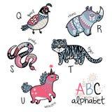 Alphabet Q - U d'animaux pour des enfants Images libres de droits