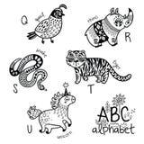 Alphabet Q - U d'animaux pour des enfants Page de coloration de vecteur Photographie stock libre de droits