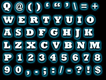 Alphabet qwerty. Sheet with the letters to be used for computer graphics with all the letters and numbers and some special character if needed Stock Images
