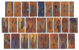 Alphabet réglé en français le type en bois de Clarendon Image stock