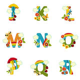 Alphabet rainbow from J to R Stock Photo
