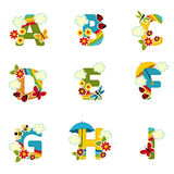 Alphabet rainbow from A to I Royalty Free Stock Photography