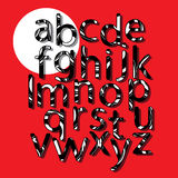 Alphabet on a red background. On the white circle To fill the letters used pattern which can be changed as desired. Stock Images