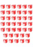 Alphabet in red cube Stock Photos