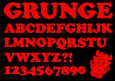 Alphabet in red grunge style, devil designed uppercase letters, numbers, question and exclamation mark, devil head. Included, vector EPS 10 Royalty Free Stock Photography