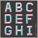 Alphabet retro colour style. Royalty Free Stock Photo
