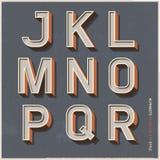 Alphabet retro colour style. Royalty Free Stock Photos
