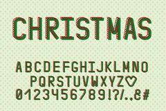 Alphabet retro design. Christmas color style. English letters, numbers, punctuation marks. Monospaced font typography. EPS. Alphabet retro design. Christmas stock illustration